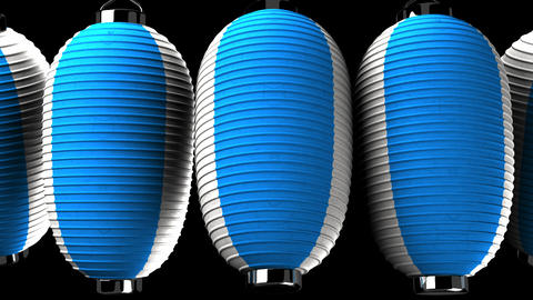 Blue and white paper lanterns on black background CG動画