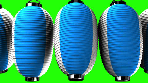 Blue and white paper lanterns on green chroma key CG動画