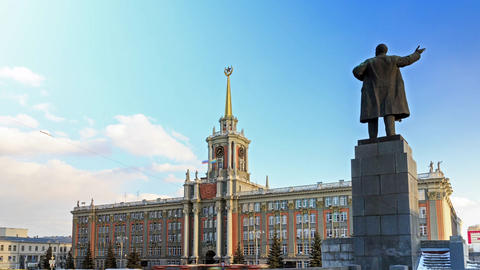 Glitch effect. Monument to Lenin in background Municipality. Ekaterinburg. Russia. Time Lapse GIF