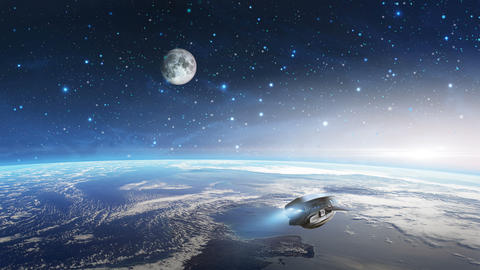 Space scene. Spaceship fly above earth planet with moon. Elements furnished by NASA. 3D rendering Animation