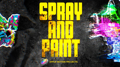 Spray And Paint text and logo reveal Apple Motion Template