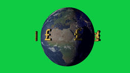 Money makes the wold go around concept with pound symbol Animation
