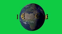 Money makes the wold go around concept with euro symbol Animation