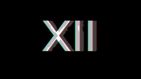 From the Glitch effect arises Roman numerals XII. Then the TV turns off. Alpha channel Premultiplied Animation