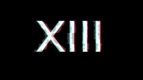 From the Glitch effect arises Roman numerals XIII. Then the TV turns off. Alpha channel Animation