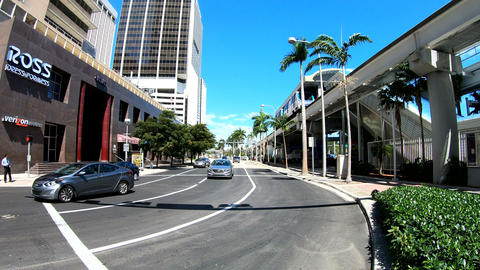 Miami, USA - february 27, 2019: Traffic in downtown Miami on a sunny day. Southe Footage