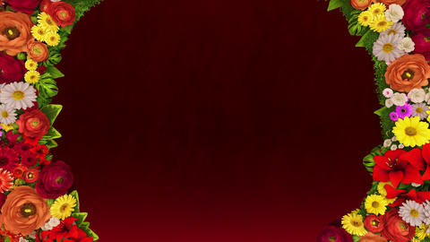 Animation of swirling flowers forming the silhouette of a heart on a red festive background Animation