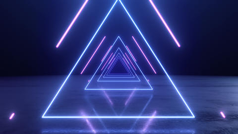 VJ abstract Neon triangle tunnel Animation