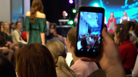 Soft focus hand held shot of fashion show Footage