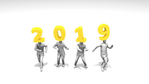 New year 2019 funny dancing people Live Action