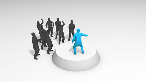Concept animation leadership figure performing infront supporter Footage