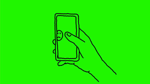 Hand Swiping Smart Phone Emoji Drawing 2D Animation Animation