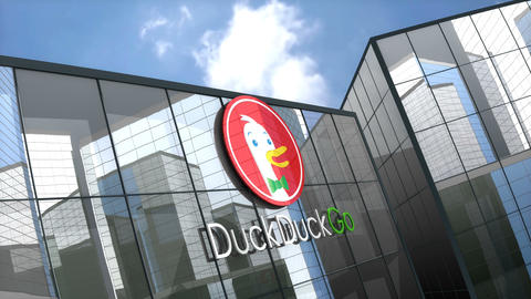 Editorial, Duck Duck Go logo on glass building Footage