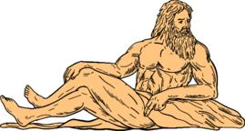 Hercules Reclining Looking to Side Drawing Vector