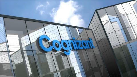 Editorial, Cognizant Technology Solutions Corporation logo on glass building Live Action