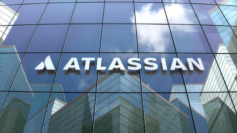 Editorial, Atlassian Corporation Plc logo on glass building Animation