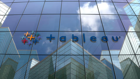 Editorial, Tableau Software logo on glass building Animation