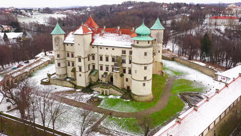 View from the height of the castle in Nowy Wisnicz in winter, Poland Footage
