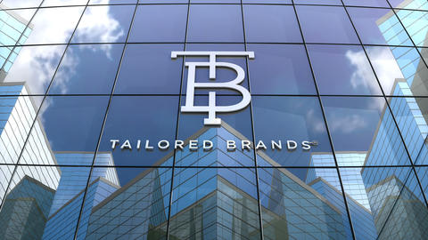 Editorial, Tailored Brands Inc. logo on glass building Live Action