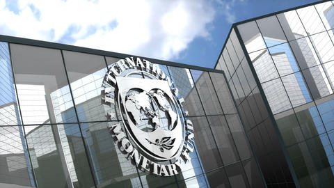 Editorial, IMF logo on glass building Animation