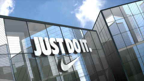 Editorial, NIKE logo on glass building Live Action