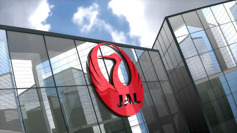 Editorial, Japan Airlines Co., Ltd. logo on glass building Animation