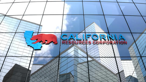 Editorial California Resources Corporation logo on glass building Animation