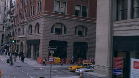 Dolly shot of small street in New York City Footage
