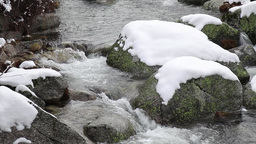 Snow Covered Rocks In Forest Creek At Winter Footage