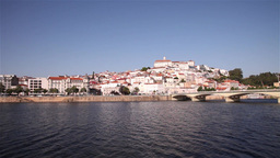 Pan of portuguese city Coimbra with Univercity Footage