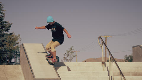 Shot of skater grinding down a ledge Footage
