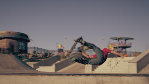 Shot of a skateboarder attempting a backflip on a skateboard Footage