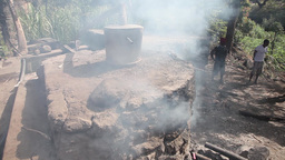 smoke artisanal alembic from distillery for brandy in Cape Verde Footage