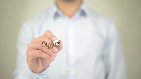 Photographer, Man writing on transparent screen Footage