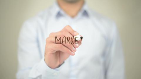 Market Monitoring, Man Writing On Transparent Screen stock footage
