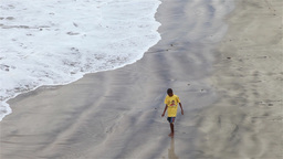 African boys walking on beach Footage