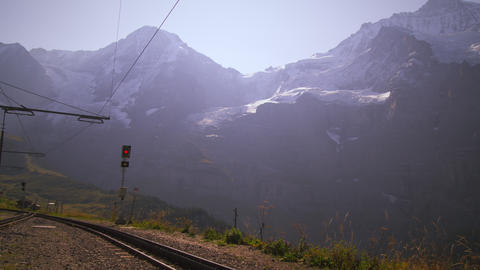 Train switch in the swiss alps Footage