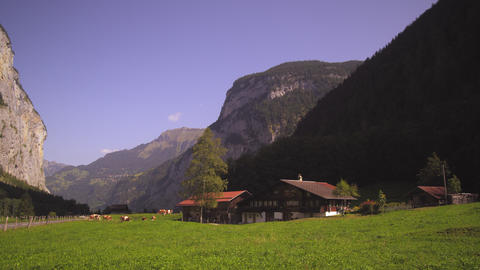 Small Swiss farm in Lauterbrunnen Valley Footage
