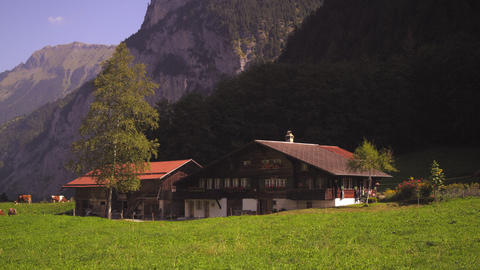 Quaint Swiss farm in Lauterbrunnen Valley Footage