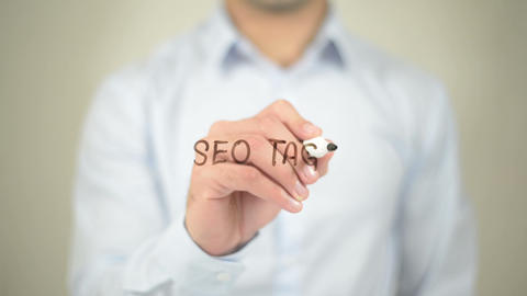 SEO Tags Optimization, Man writing on transparent screen Footage