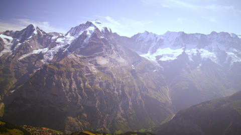 Panning shot of the majestic Swiss alps Footage