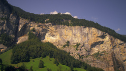 Panoramic view of Staubbach falls and Spissbach falls of the Lauterbrunnen Valle Footage