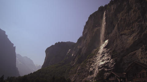 Static shot of a staubbach falls from Lauterbrunnen Valley Footage