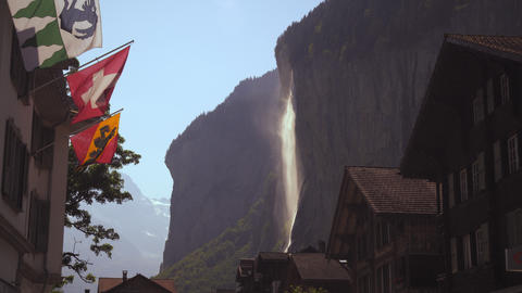 Static shot of waterfall near Lauterbrunnen, Switzerland Footage