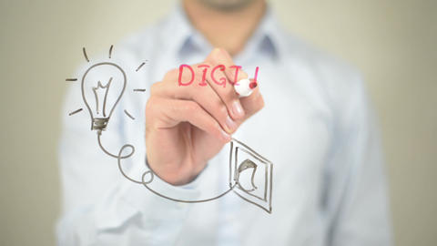 Digital Idea, Glowing Bulb Concept, Man Writing On Transparent Screen stock footage