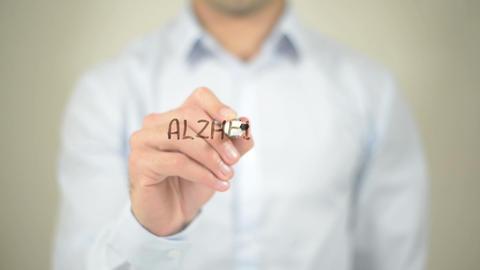 Alzheimer's Disease, Man writing on transparent screen Footage