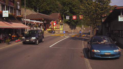 Panning shot of Rothorn Barn train station in Brienz, Switzerland Footage