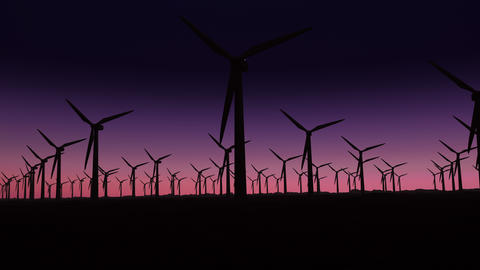 silhouette of wind turbines at sunrise with copy space Animation