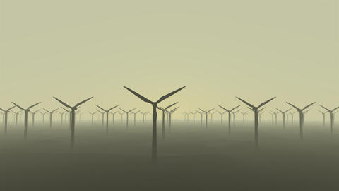 Side view of wind power plant working in a smoggy desert, renewable energy concept Animation