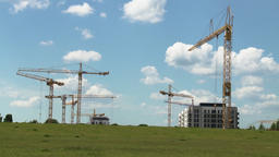 Construction Cranes and Summer Sky Panorama Archivo